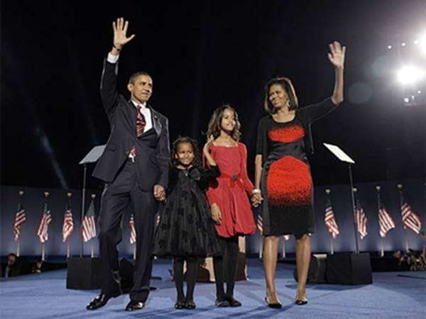 Barack Obama and Family on Election Night