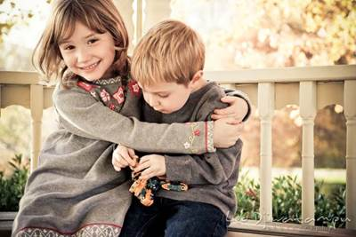 kids hugging and showing affection