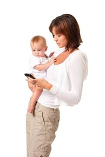 Mom and Infant Texting