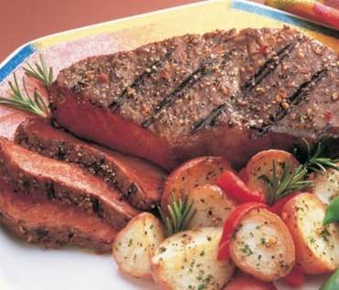 steak and potatoes