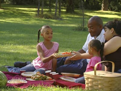 African-American family having a picnic in the park