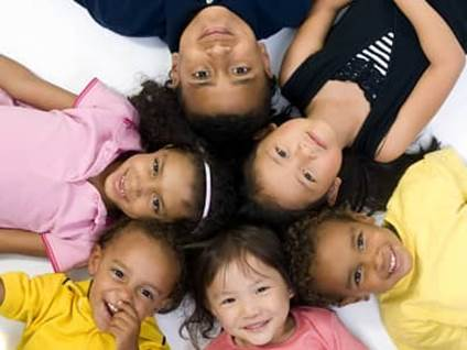 Group of racially diverse children