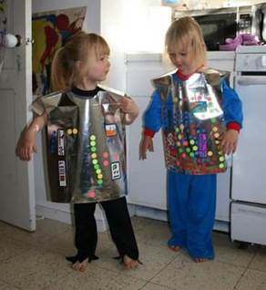 kids making halloween costumes