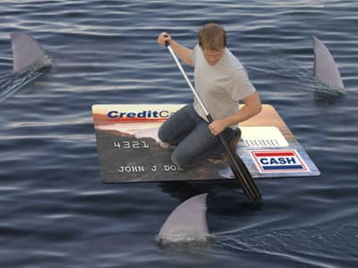 guy using credit card as boat