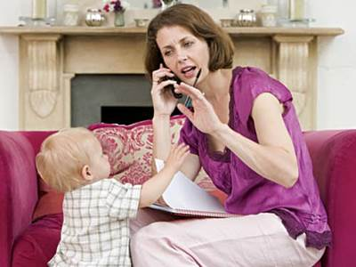 Mom on phone interrupted by toddler