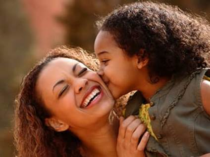 Happy mom and child