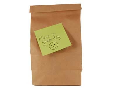 Brown bag lunch with post-it note