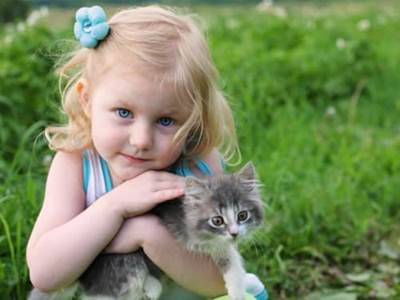 Little blonde girl and her gray cat