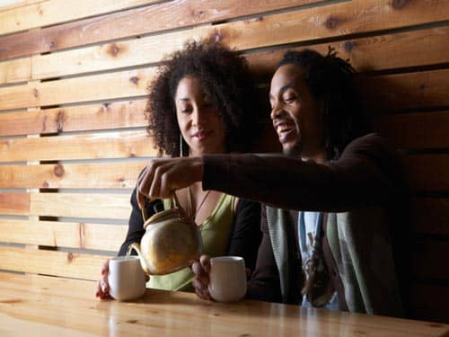 Man and woman drinking tea on a date