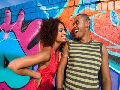 Man and woman laughing against graffiti wall