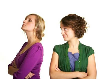 Two women not speaking to each other