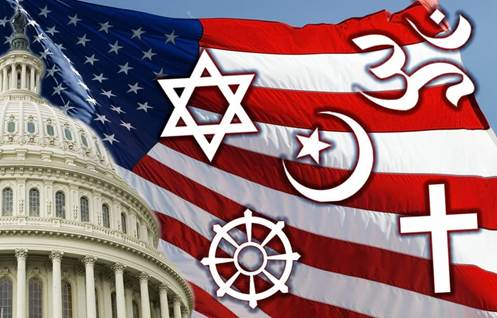 American Flag With Religious Symbols