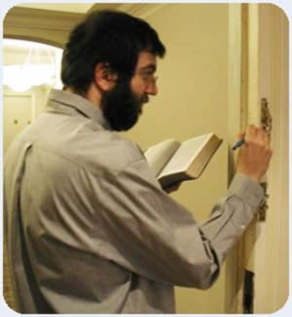 Writing Doorpost scripture passage doorframe