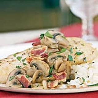 Braised Halibut with Bacon and Mushrooms