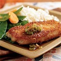 Wasabi and Panko Crusted Pork with Gingered Soy Sauce