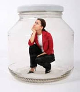 trapped woman person jar glass