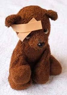hurt teddy bear band-aid