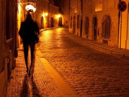 man walking_alley