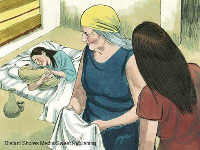 Bible illustration of midwives at work