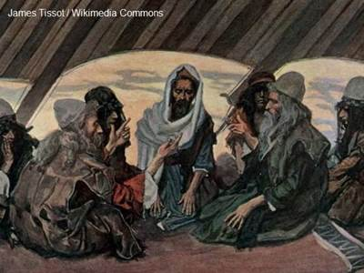 Painting of Jethro talking to Moses