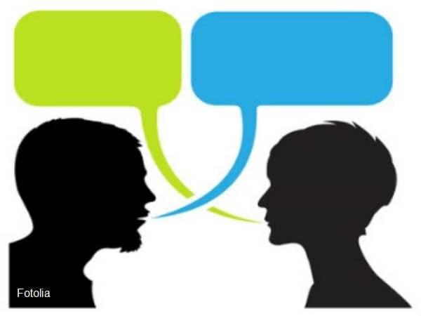 Cartoon of two talking